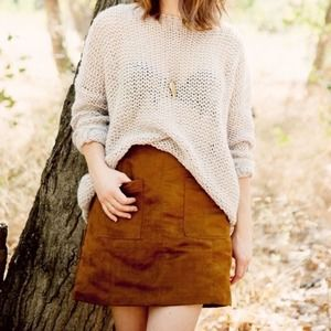 Old Navy Faux Suede Mini Skirt A Line Tan Copper
